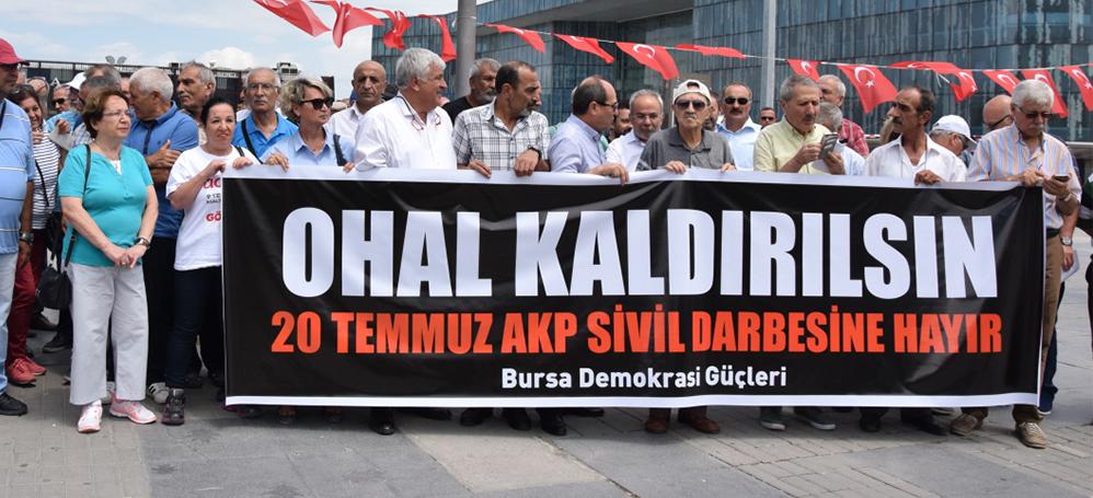 OHAL'in yıldönümünde Bursa'da protesto: AKP OHAL'i fırsata çevirdi