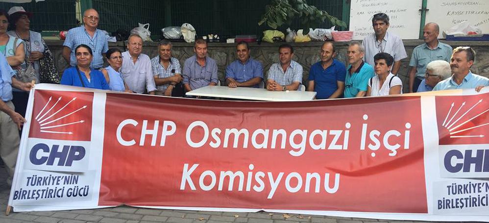 CHP Osmangazi Örgütü direnişteki Aroma işçilerini ziyaret etti