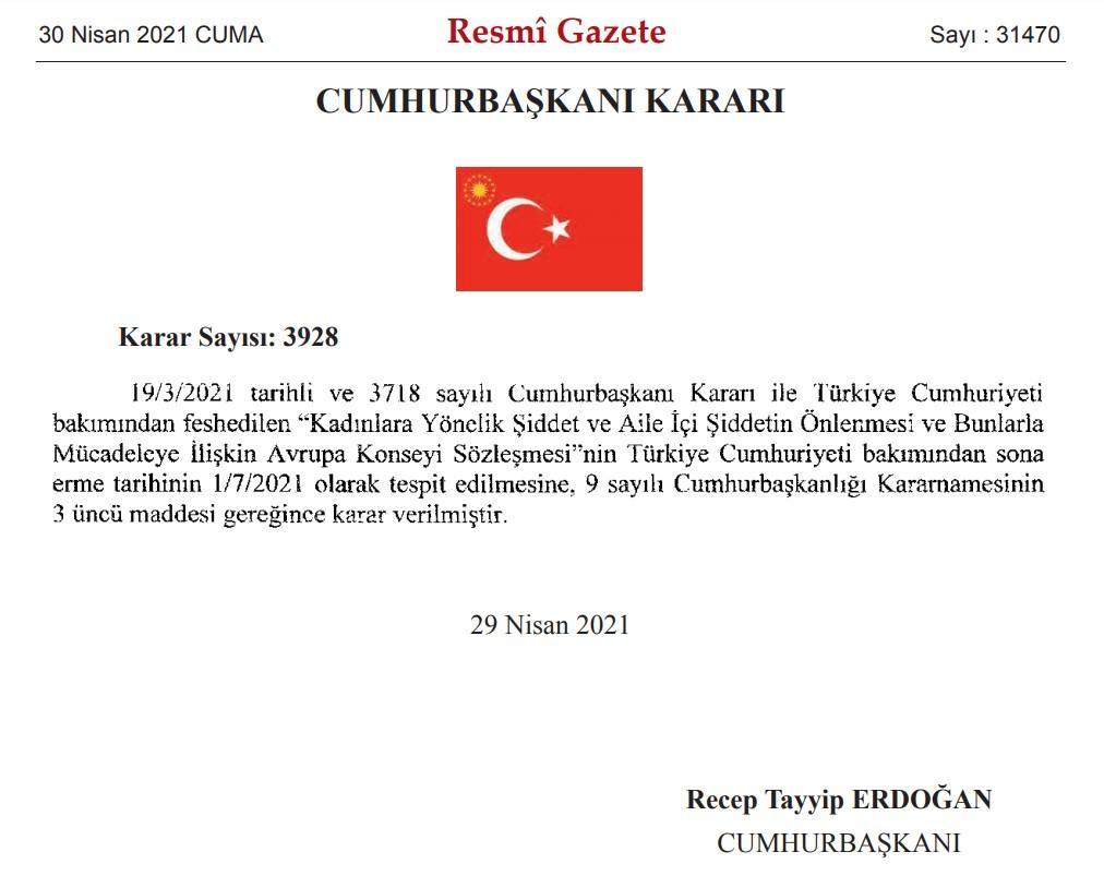 istanbul sozlesmesinden ayrilma karari resmi gazetede